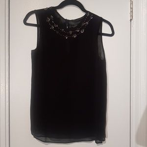 Zara Sheer Black Tank with Gold Sequins